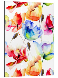 Aluminium print  Poppies and tulips