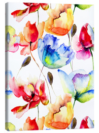 Canvas print  Poppies and tulips