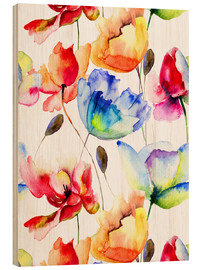 Wood print  Poppies and tulips