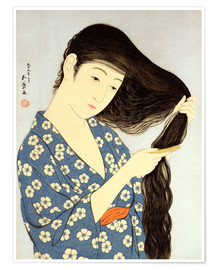 Premium poster Young woman combing her hair