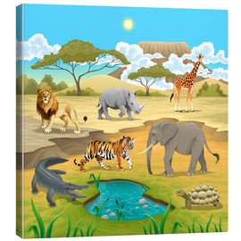 Canvas print  African animals in a savannah - Kidz Collection