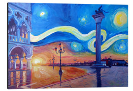 Aluminium print  Starry Night in Venice Italy San Marco with Lion - M. Bleichner