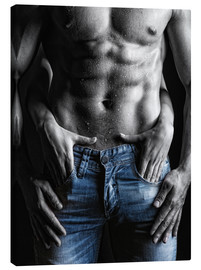 Canvas print  muscular man and female hands