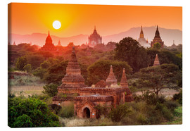 Canvas print  Temples of Bagan at sunset