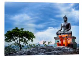 Acrylic print  monks praying in front of a Buddha