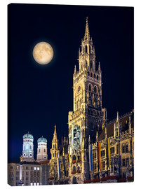 Canvas print  Night scene from Munich Town Hall