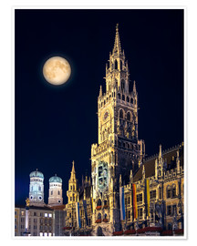 Premium poster  Night scene from Munich Town Hall