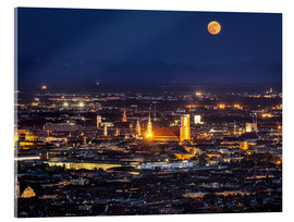 Acrylic print  Munich Skyline with yellow full moon
