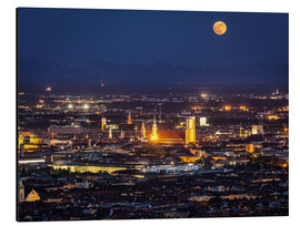 Aluminium print  Munich Skyline with yellow full moon