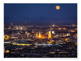 Premium poster  Munich Skyline with yellow full moon