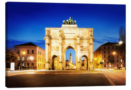 Canvas print  Victory Arch in Munich at night