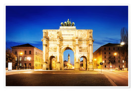 Premium poster  Victory Arch in Munich at night