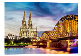 Acrylic print  Lighted Cathedral with Rhine and Bridge, Cologne