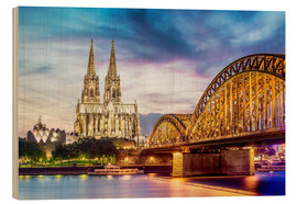 Wood print  Lighted Cathedral with Rhine and Bridge, Cologne