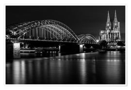 Premium poster  Cologne Cathedral and bridge