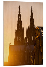 Wood print  Sunset behind the Cologne Cathedral