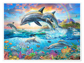 Premium poster  Dolphin Family - Adrian Chesterman
