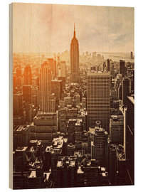 Wood print  Sunset in Manhattan, New York