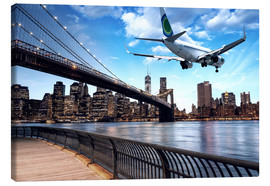 Canvas print  Aircraft flying over New York City
