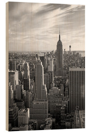Wood print  Sunset view of Manhattan