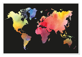 Premium poster  World map in Watercolor