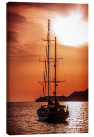Canvas print  Old ship sailing to the sunset