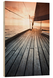 Wood print  Sailboat in the open sea