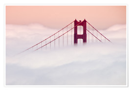 Premium poster  Golden Gate Bridge in the clouds