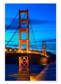 Premium poster  Golden Gate Bridge at sunset, San Francisco