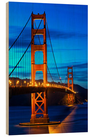 Wood print  Golden Gate Bridge at sunset, San Francisco