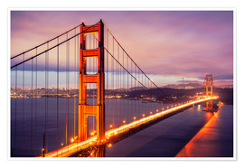 Premium poster  The Golden Gate Bridge at dusk, San Francisco