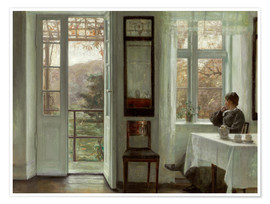 Premium poster  Woman of the artist at a window - Carl Holsøe