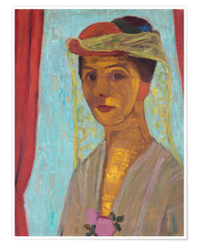 Premium poster Paula Modersohn-Becker with hat and veil