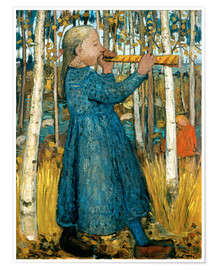 Premium poster Flute blowing girl in birch forest