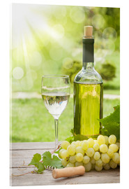 Acrylic print  White wine glass and bottle