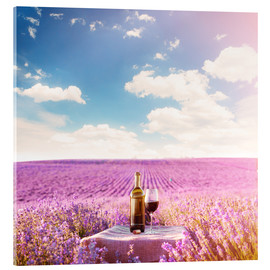 Acrylic print  Red wine bottle and wine glass in lavender field