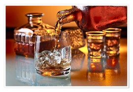 Premium poster  glass with whiskey and ice