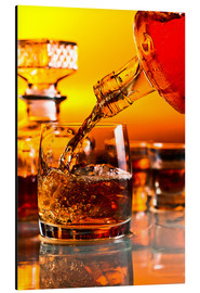 Aluminium print  glass with whiskey and ice