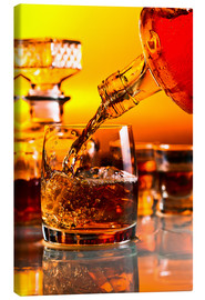 Canvas print  glass with whiskey and ice
