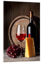 Acrylic print  Red Wine with Cheese and Grapes