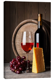 Canvas print  Red Wine with Cheese and Grapes