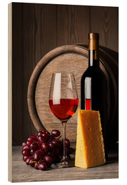 Wood print  Red Wine with Cheese and Grapes