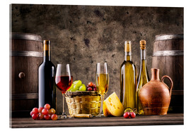 Acrylic print  Wine, grapes, barrels and cheese