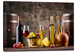 Canvas print  Wine, grapes, barrels and cheese
