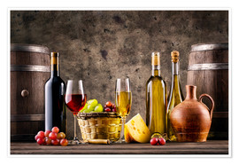 Premium poster  Wine, grapes, barrels and cheese