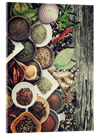 Acrylic print  Spices And Herbs On Rusty Old Wood