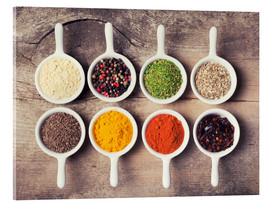 Acrylic print  Spices and herbs in ceramic bowls