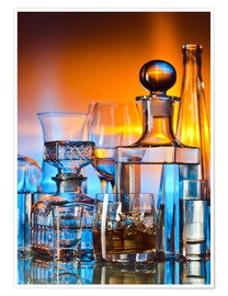 Premium poster  alcoholic drinks on glass table