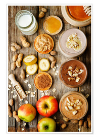Premium poster  peanut butter smoothie with chocolate, apples, banana and oats