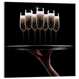 Acrylic print  hand with champagne
